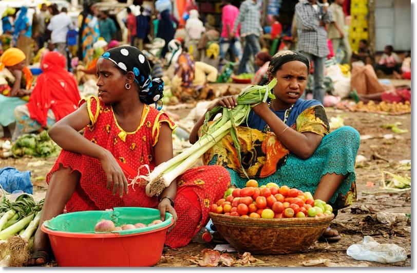 Mercado comarcal, donde los amharas intercambiarán sus productos
