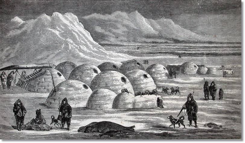 Representación de un pueblo inuit en Frobisher Bay, 1865
