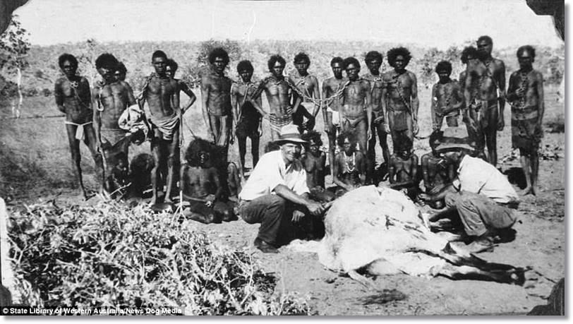 Como podemos ver en la fotografía, el trato recibido por los indígenas australianos por sus nuevos vecinos no fue el mejor ni mucho menos - etnias.net