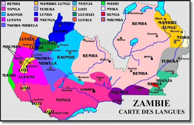 En este mapa podemos apreciar la distribucción del idioma wemba o bemba y las lenguas que la acompañan - etnias.net