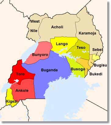 En la imagen podemos observar donde se encuentra el reino Buganda dentro de Uganda - etnias.net