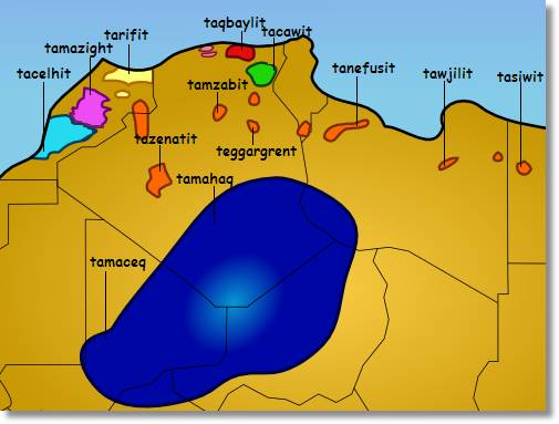 Gráfico del Norte de África en el que están marcados por regiones los dialectos berberiscos hablados por esta etnia - etnias.net