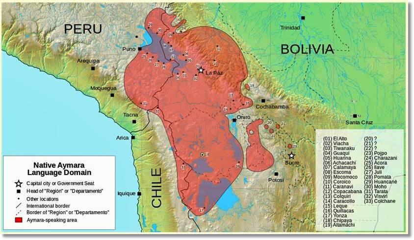 Región aproximada de América del Sur ocupada por los aymaras - etnias.net