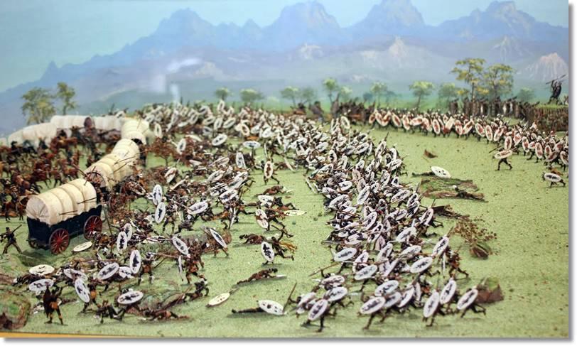 Representación gráfica de la batalla de 1838 sobre el pueblo zulú de los bóers en la batalla de Blood River - etnias.net