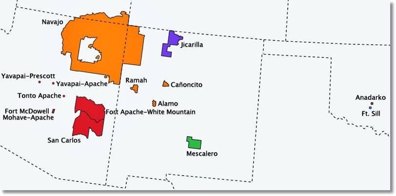 Reservas indias, entre la que se encuentra la Reserva India de SFort Apache perteneciente a los Indios Apache. - etnias.net