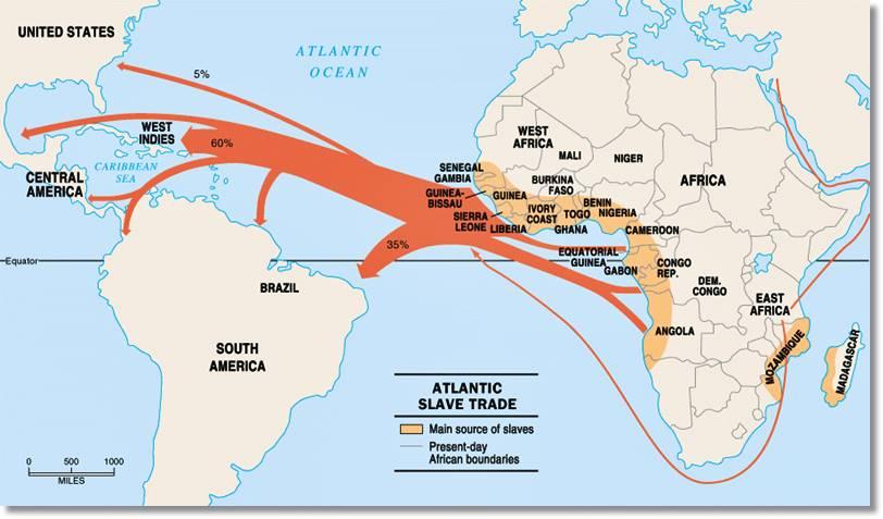 Zonas de África desde donde partieron y destinos a donde llegaron los esclavos. Como se puede apreciar, la llegada de negros a Estados Unidos no representa el tanto por ciento más grande ni mucho menos - etnias.net