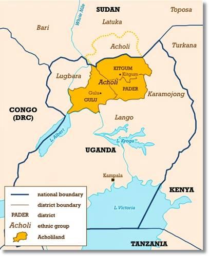 Mapa de situación de la tribu acholi - etnias.net