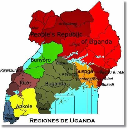 Reinos de Uganda. Podemos observar en la zana inferior el reino Ankole. - etnias.net