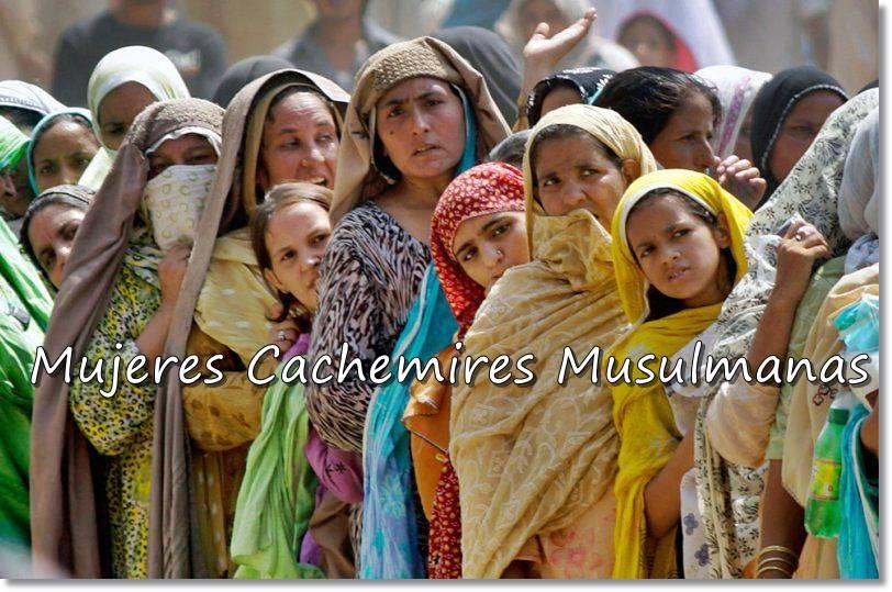Mujeres cachemira de religión islámica. Hindúes y musulmanes viven en armonía, pero jamás comen juntos ni establecen vínculos maritales entre sí - etnias.net