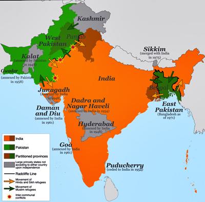Mapa de Pakistán anterior a su división