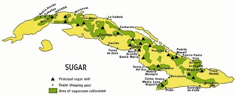 Principales áreas de plantaciones de azúcar en Cuba